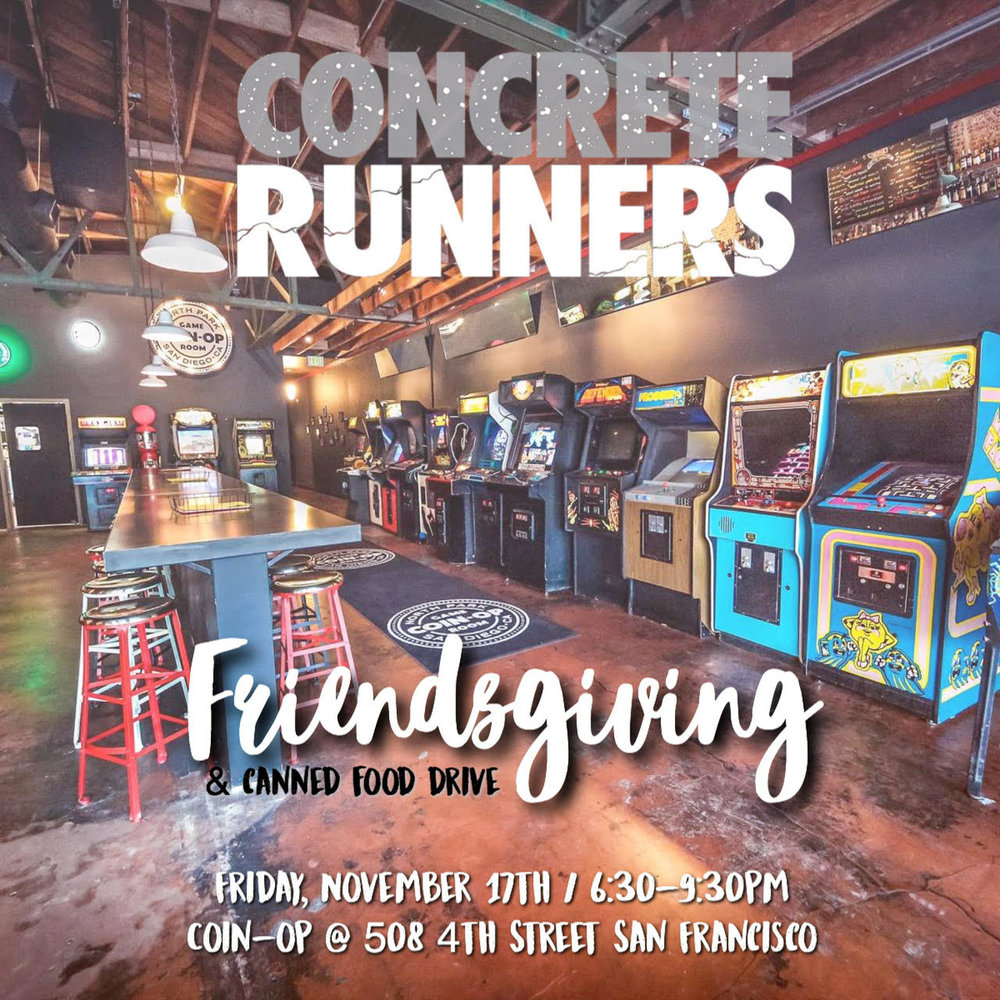 Join us for our annual Friendsgiving + Canned food  drive! We are teaming up with The Cutlery barbershop and donating to the SF Marin food bank.    Location: Coin-op 508 4th Street, San Francisco.  Time: 6:30-9:30pm    We hope to see you all there!