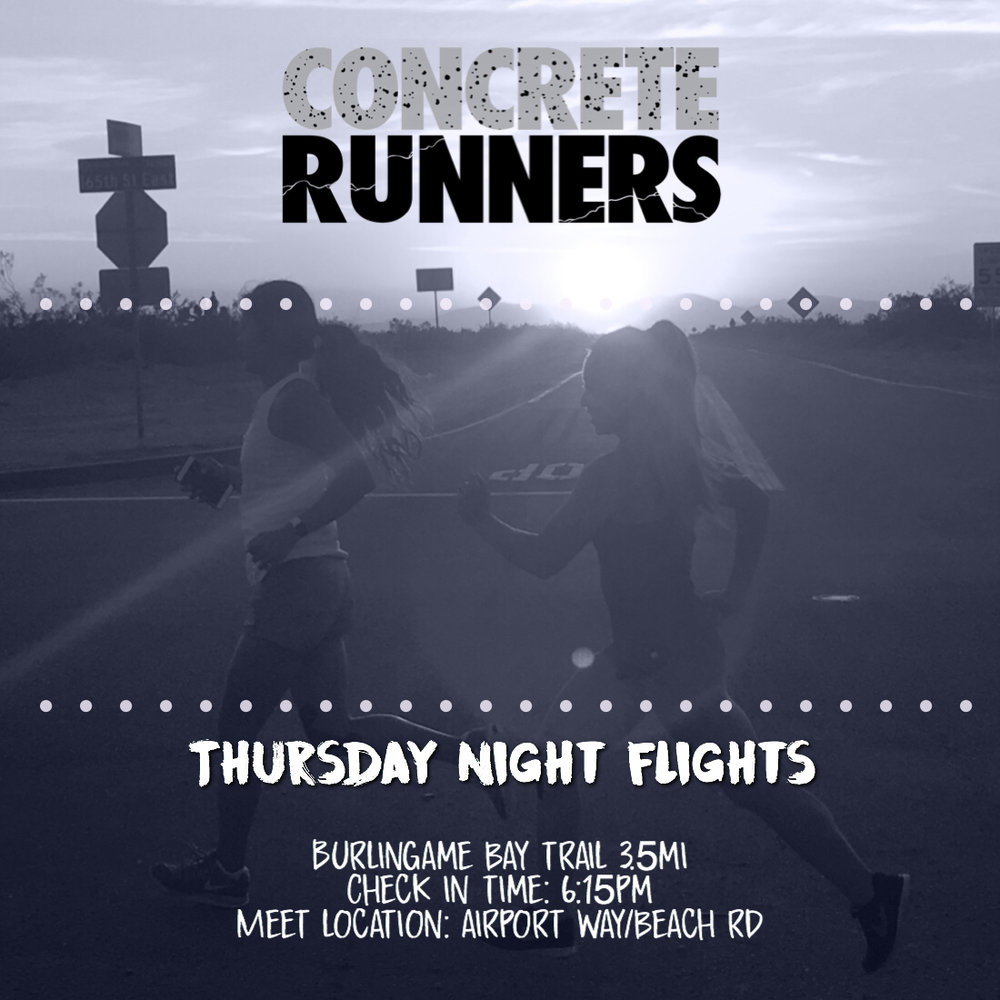 Join the Concrete Runners for a Thursday Night Flight. We'll be taking off for a 3-4 mile run on the Bay Trail in Burlingame.  📅 Date: Thursday 3/22  📍Meet Location: Airport Way & Beach Road Burlingame  🕧 Meeting time: 6:00pm  🛫 Take off: 6:30pm  👩🏻‍✈️Pilot(s): JDL / Sam B.  👟Distance: 3-4miles 👜 Bag Storage: TBA