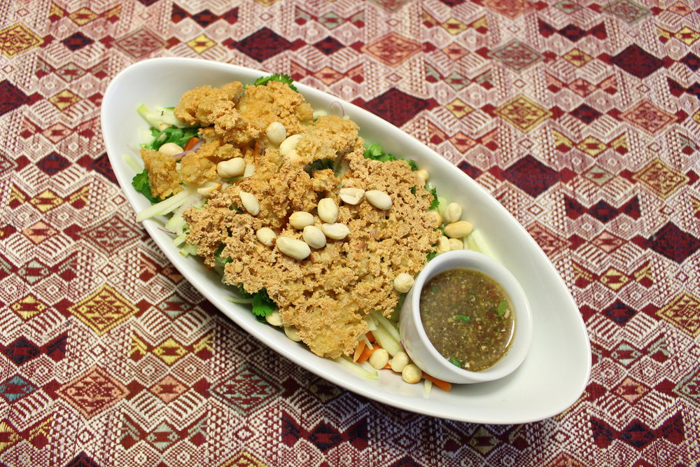 Dish Name: Green Apple Salad with Yam Dtao Hoo - Fried Tofu w/ sour Sauce Dining Style: The dish is traditionally enjoyed at room temperature. Mix the dressing and the tofu into the salad and enjoy!