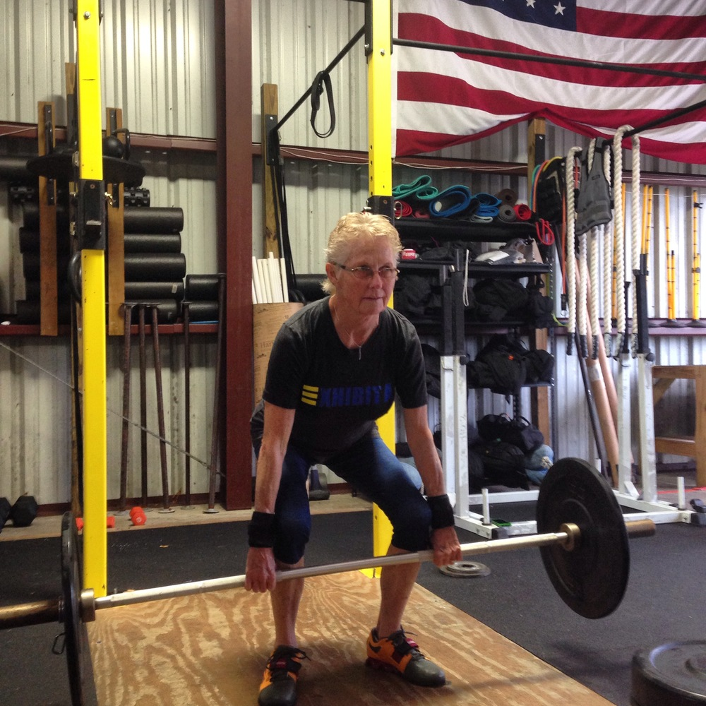 Mary Carter (age 69) has been training at Ternion Athletics for 2 years. She has gained 8 lbs of lean muscle and improved her strength, balance, flexibility, and coordination by training the olympic lifts.