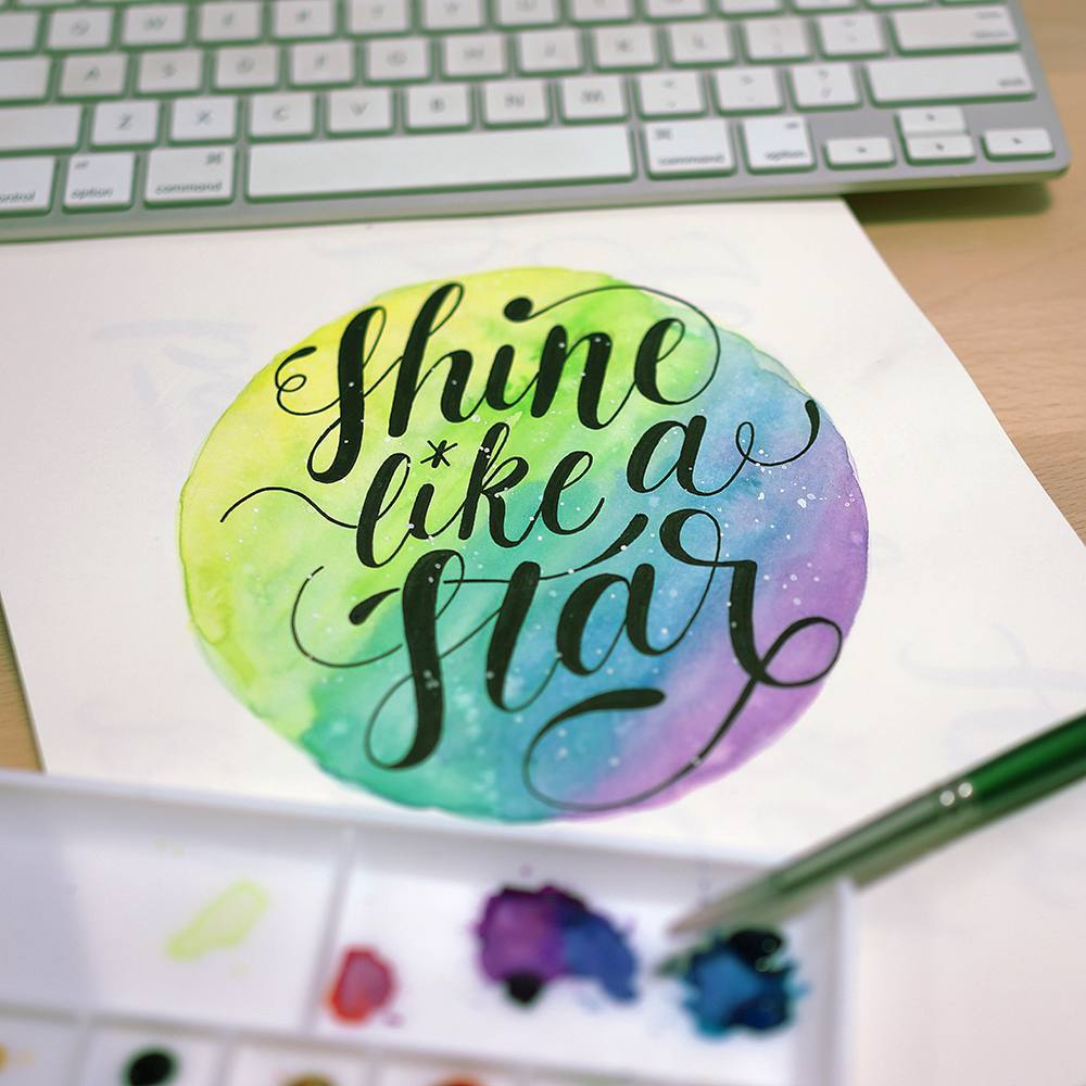 Shine like a star. First attempt of watercoloring. It was fun, but i need more practice blending the colors. Happy hump day! 2 more days to Weekend!