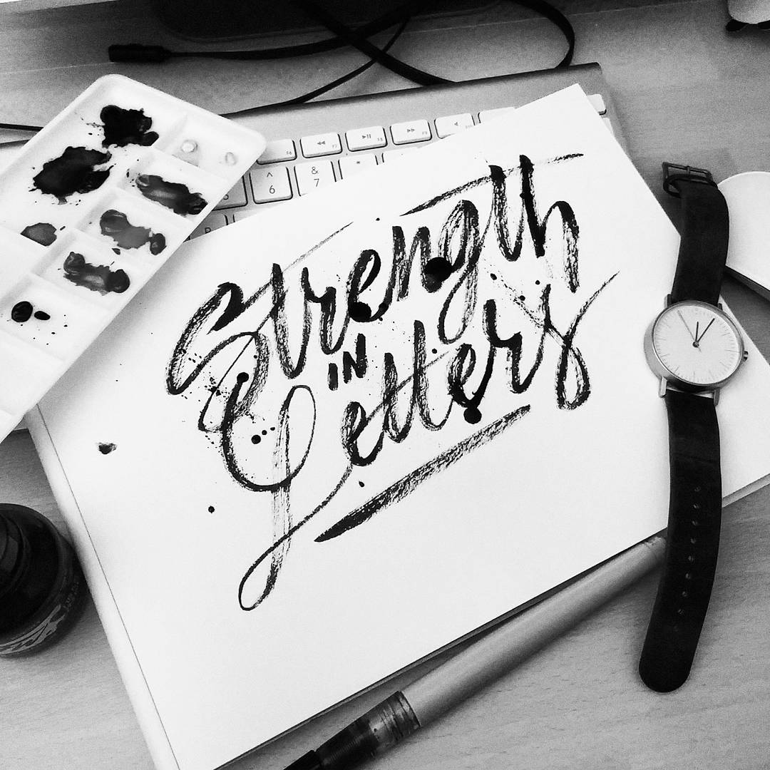 Another 'Strength in Letters' for @goodtype #goodtypebook. Good Night! #midnight #brushlettering #brushtype