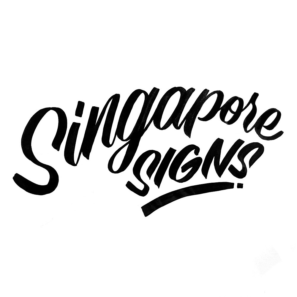Singapore signs logo with Casual script