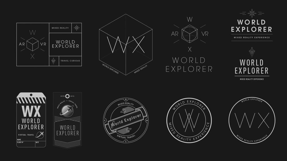 Design explorations for the startup sequence badge.  World Explorer was the name of the project during pre-production.