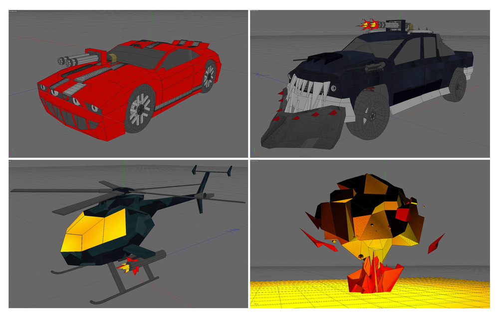 Vehicles modeled, textured, lighted and animated in 3D