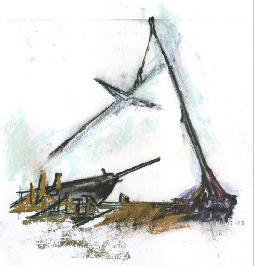 Raising the mast, Mystic Seaport, CT, Spring 2015