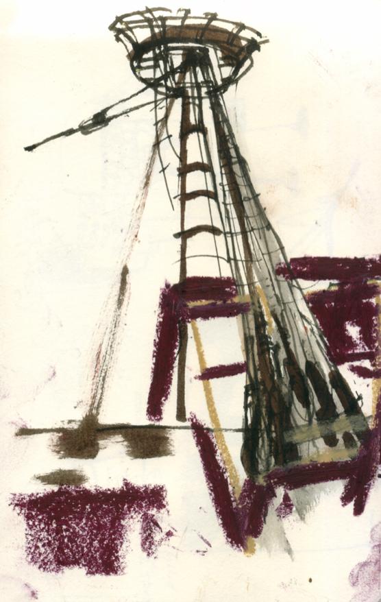Mayflower II mast, Mystic Seaport, CT, 2015
