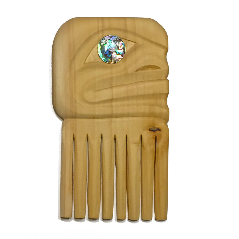 Tlingit Comb by James Johnson / Yellow Cedar, Abalone Eyes