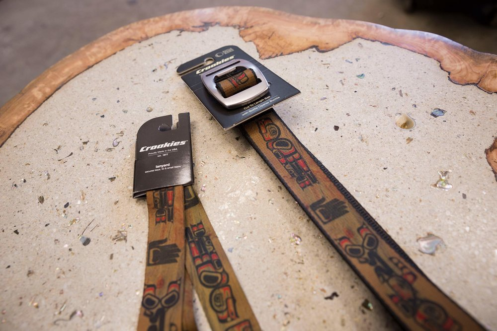 N-Grained Inc. Croakies Line, nice shot on Mark's Custom Table made from a burl filled with white cement with abalone mixed in.  Beautiful / photo: Ian Tetzner