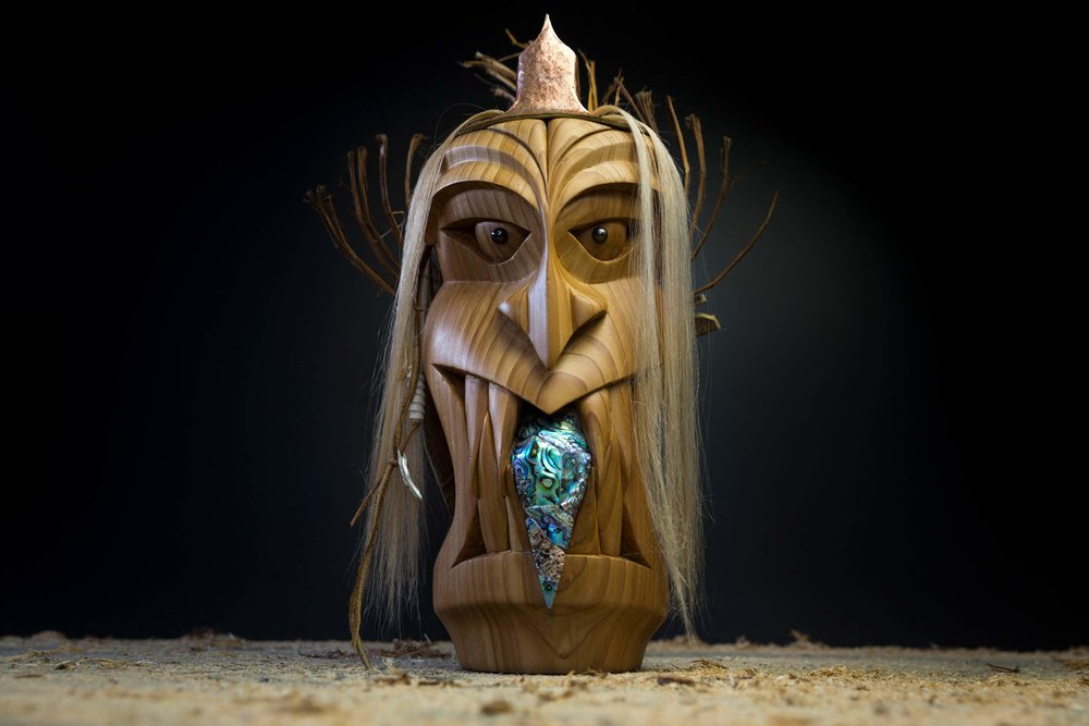"""Untitled"" by Mark Landvik, Black Pearl Eyes, Cedar Bark Hair, Copper Hat, leather, and an abalone tongue / photo: Ian Tetzner"