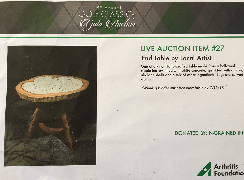 N-Grained Inc. Founder Mark Landvik Donated a Custom Live Edge Table benefiting the Arthritis Foundation at the 18th Annual Golf Classic and Gala in Bellingham, WA.