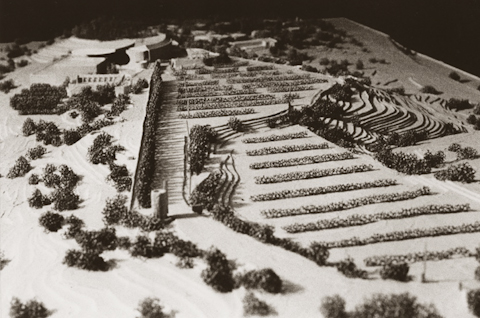 Model made from tag board and model paste,Santa Fe Opera, for James Stewart Polshek and Partners