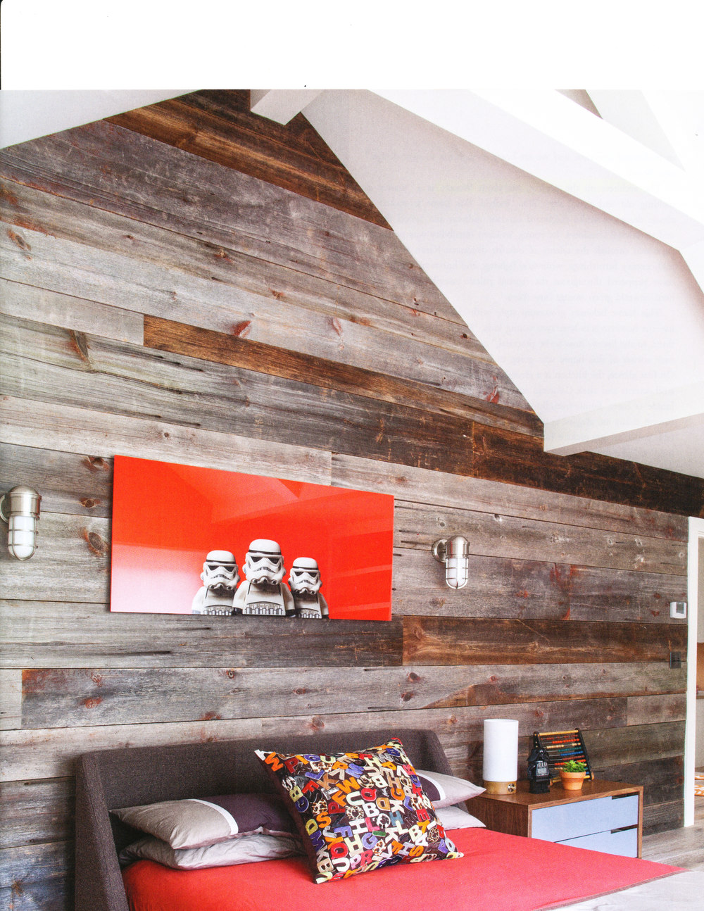 Barn siding accent wall