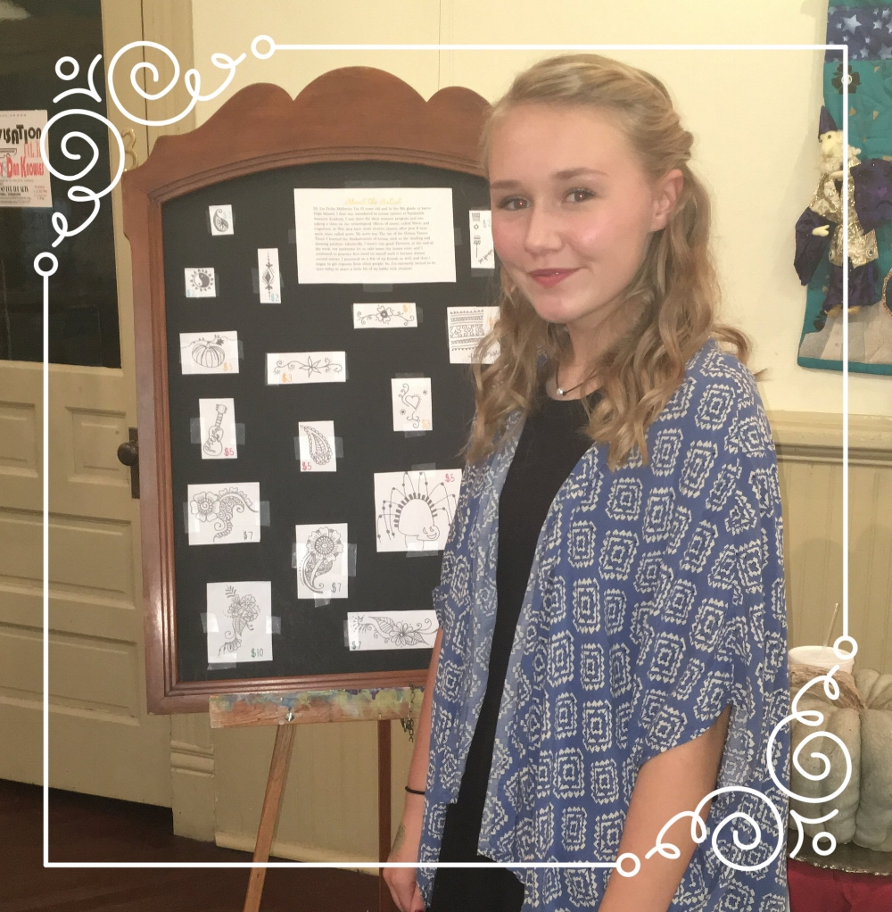 Delia McDevitt is a sophomore at HCHS who loves to sing, act, and make good grades. In her spare time she enjoys doing henna at local art fairs and markets, and competing for FBLA, HOSA, and Speech Team. She is also a member of the  PHC Arts Y  outh for the A  rts student advisory board.