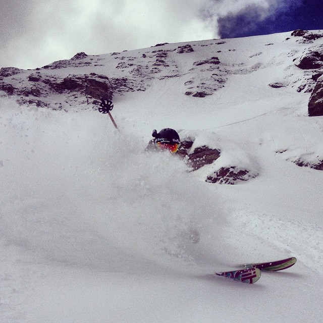 Helix spraying perfect spring powder in Telluride's Black Iron Bowl.