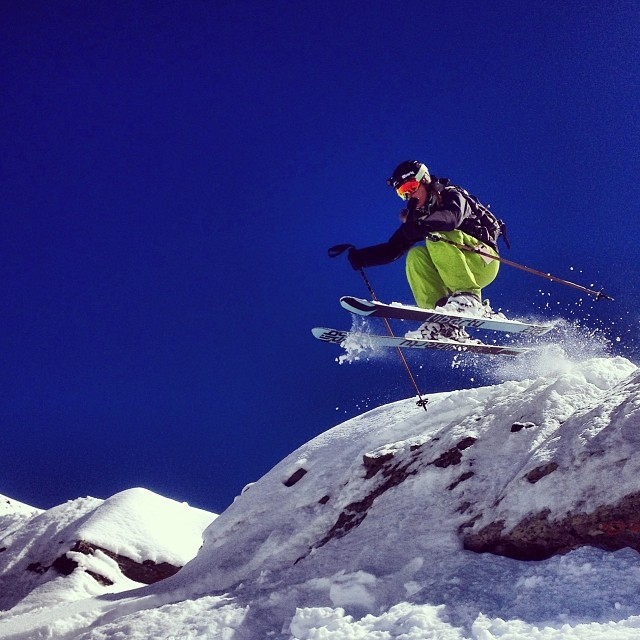 Taking flight in Telluride's Black Iron Bowl.