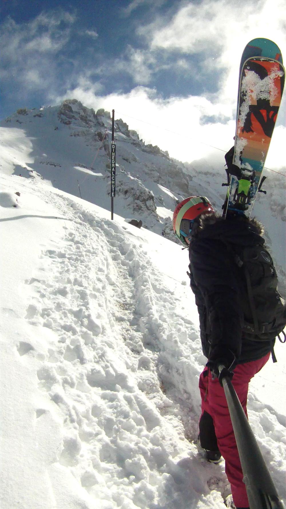 Liberty Skis Origin hiking Telluride's Black Iron Bowl