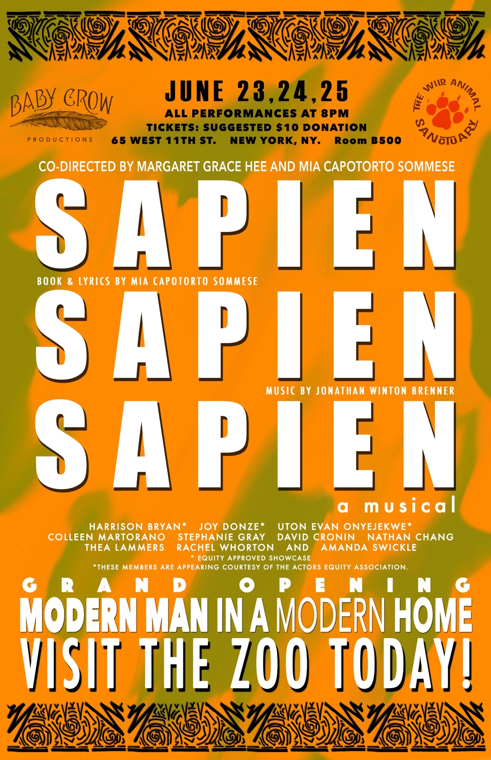 Poster Design by Robert Dallas for June 2015 reading of Sapien Sapien Sapien by Mia Sommese and Jonathan Brenner