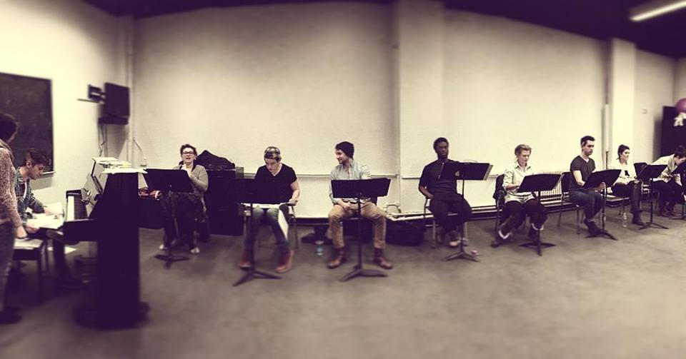 Rehearsal for February '16 reading of Sapien Sapien Sapien, NYC