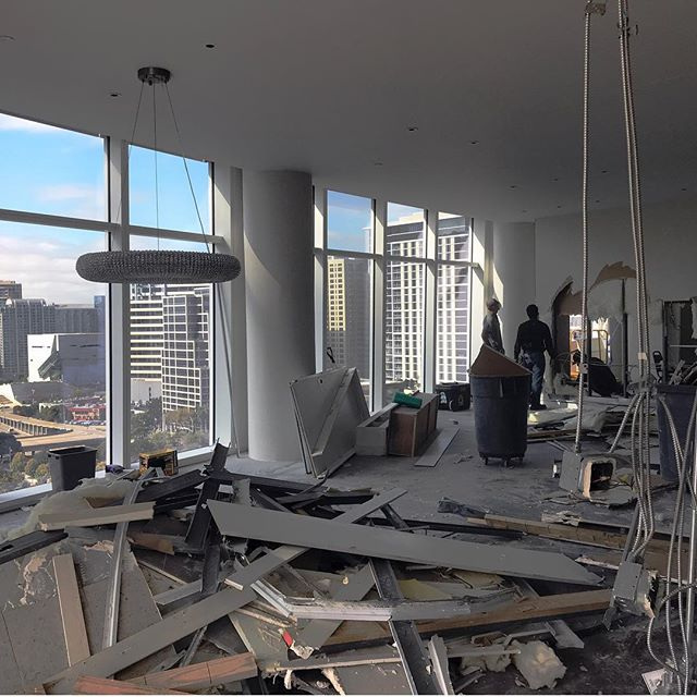 Let the demo begin... We are fortunate to get to design a complete floor renovation at Museum Tower. Converting 4 homes into 1. #downtowndallasliving #museumtower #hudsonconstructiongroup #bernbaummagadiniarchitects #dallashighrise