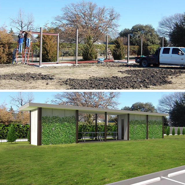 We have been working on a structure for the Temple Emanu-El community garden project. We are excited to see some steel go up this week. This is our concept rendering (bottom) and actual progress photo from today (top). @templeemanueldallas #templeemanueldallas #communitygarden #gardenstructure #gardening #gardenclub #plants