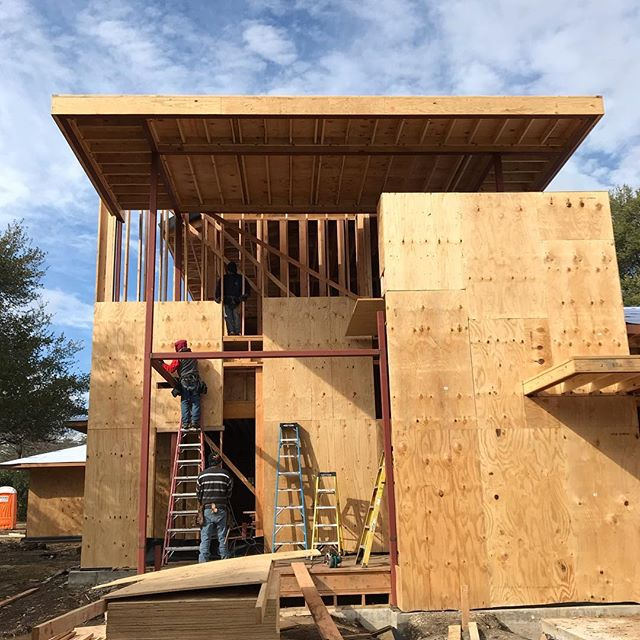 Framing is moving along quickly (even in frigid weather) at our new home in Preston Hollow. It's exciting to see the form take shape. Meanwhile inside, a full scale stair mock-up drawing chalked out and ready for review.  #contemporary #residentialarchitecture #modernarchitecture #texasmodernarchitecture #dallasmodernarchitecture #archdaily