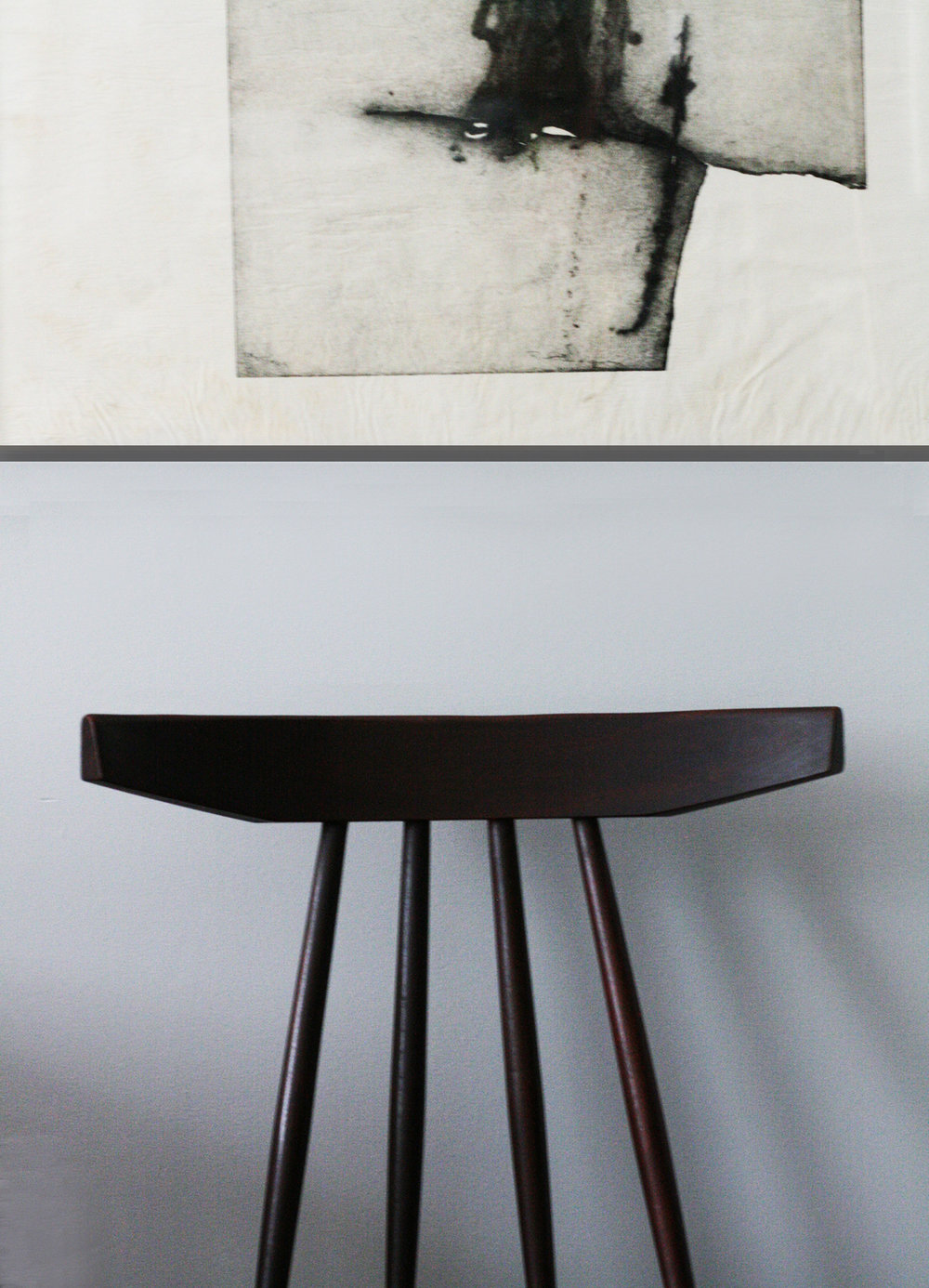 Vintage Danish chair and original lithograph