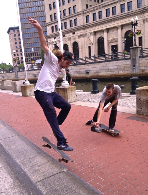 Skateboarders breathing deeply in Providence, RI, Summer 2015.