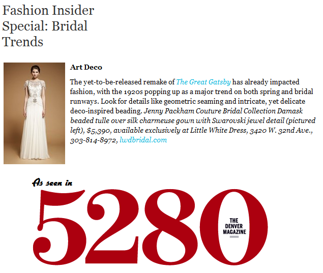 Jenny Packham featured in 5280 Denver Magazine
