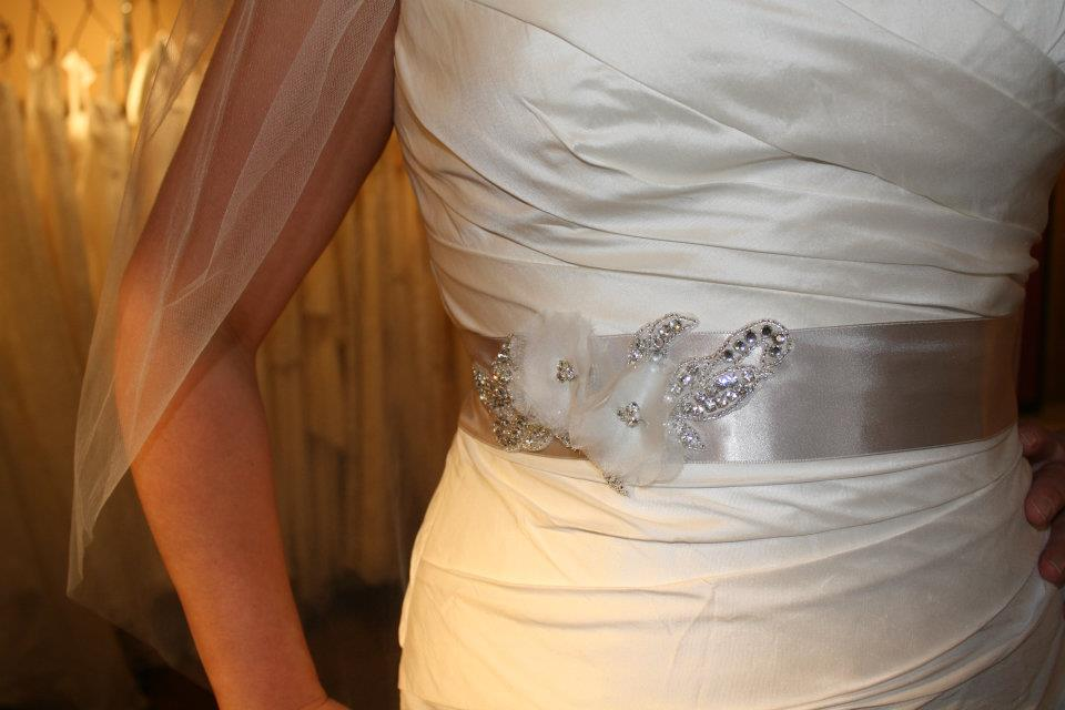 Love Veils wedding dress sash at Little White Dress in Denver