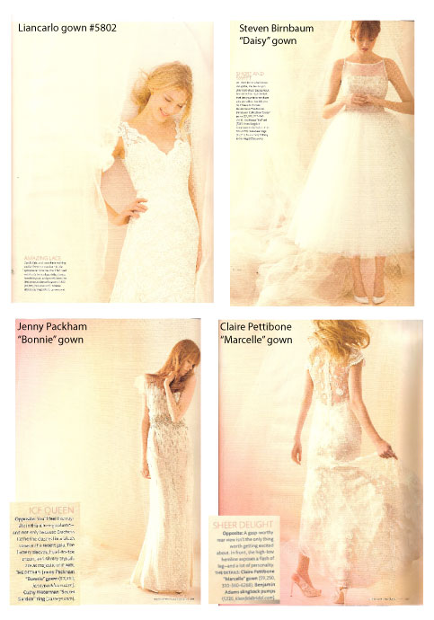 Designer wedding dresses featured in Martha Stewart Weddings at Little White Dress