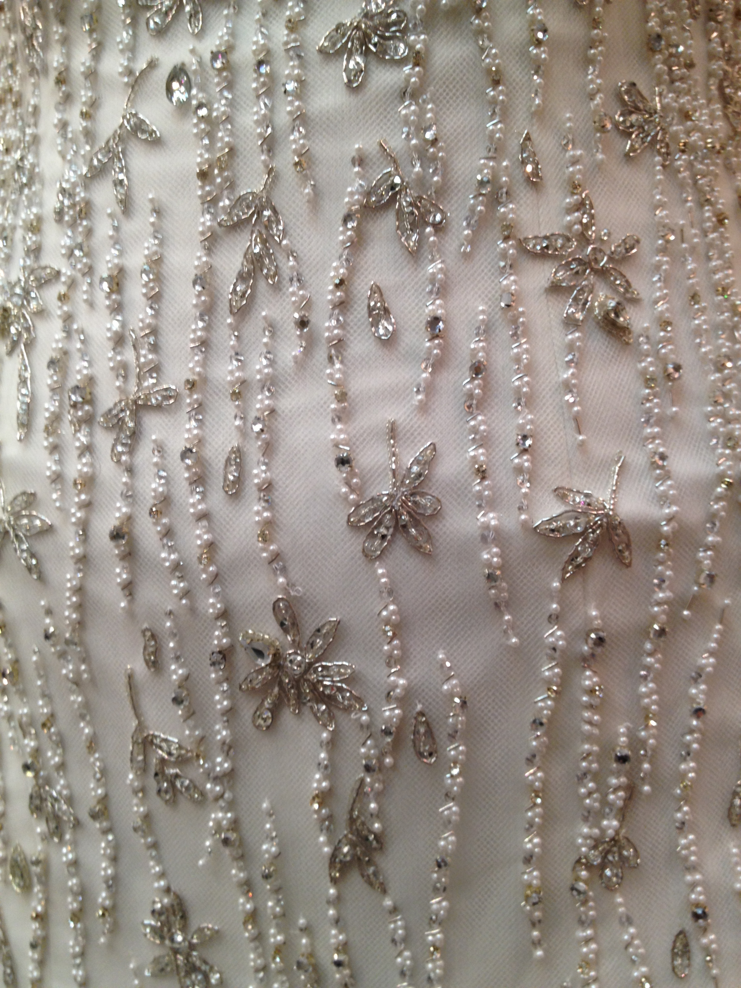 Liancarlo wedding dress - up close view of beading done by hand
