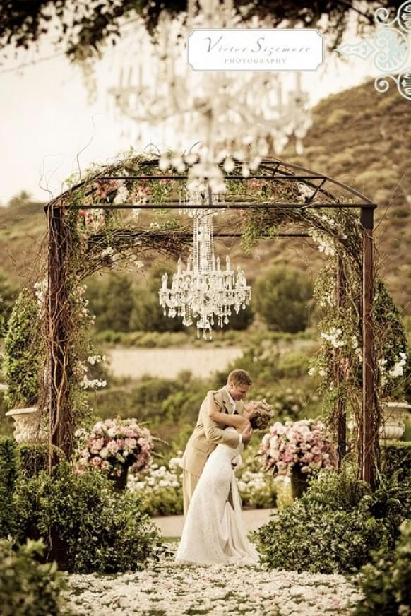 Beautiful rustic and glamorous altar