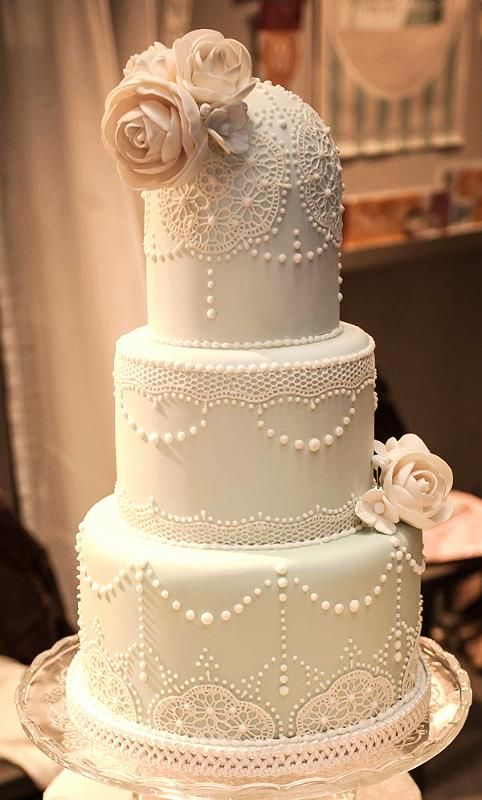 Lace and piping on a classic cake