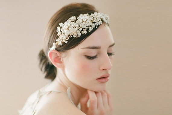 Gold jeweled flower headband