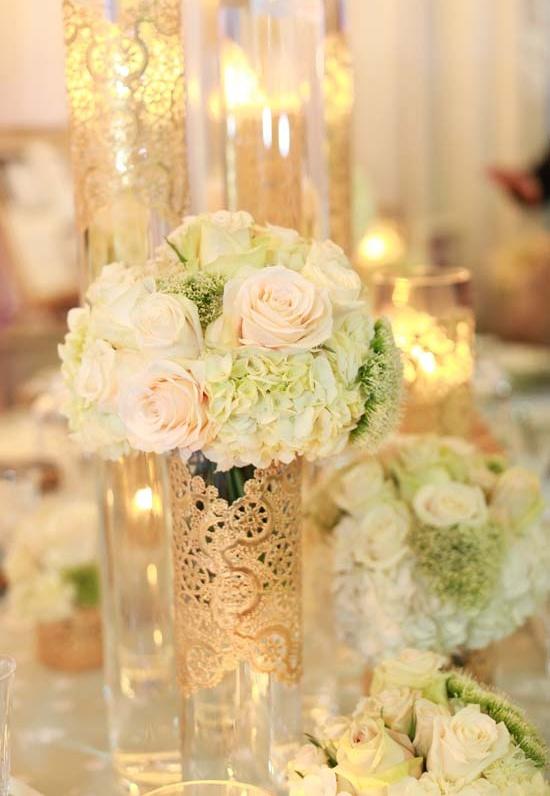 Gold lace centerpieces