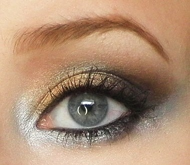 Continuing the silver and gold palette into bridal makeup
