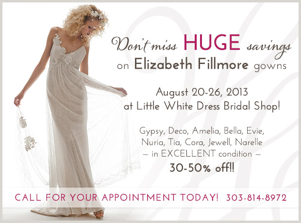 Elizabeth Fillmore Sale at Little White Dress Bridal Shop in Denver, Colorado