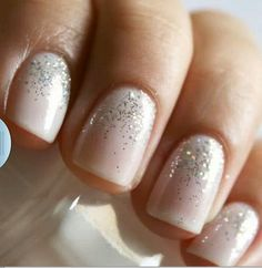 The perfect manicure for the wedding day, with a hint of sparkle