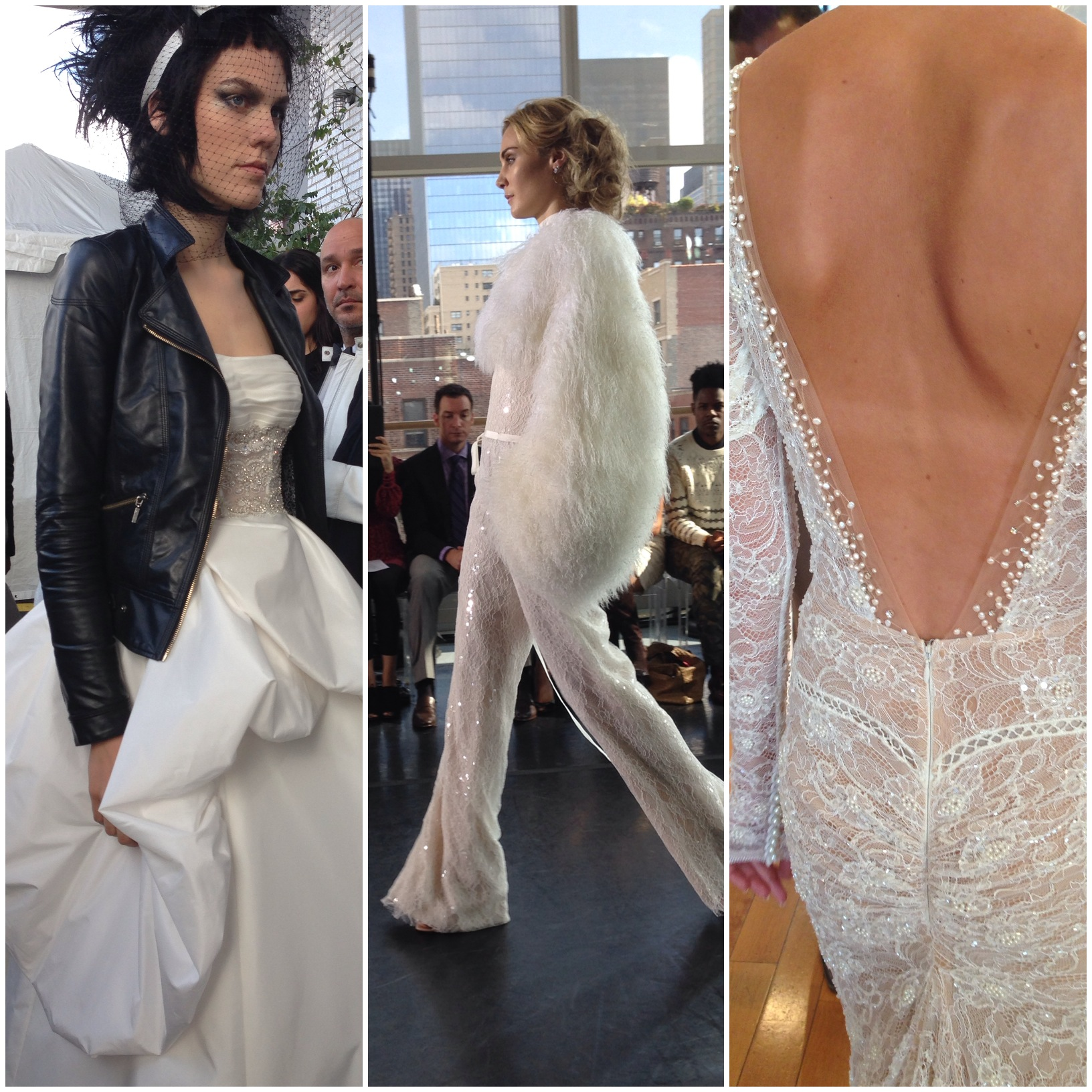 Which of the trends we saw today is your favorite? 1) Punk rock brides, 2) Feathers and Sequins (in a pantsuit that we actually loved!), 3) The low-low-LOW back.