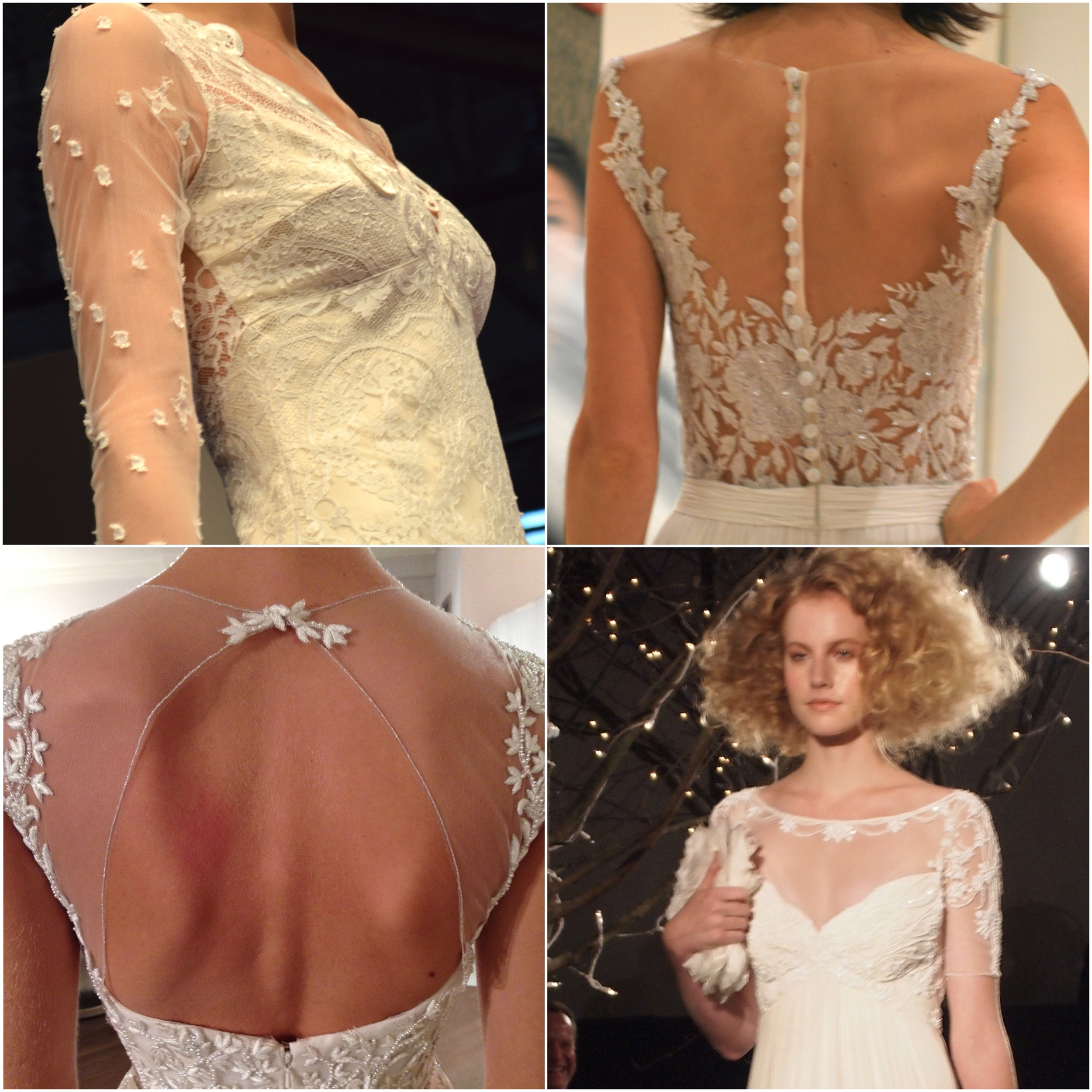 Clockwise from top left: Claire Pettibone, Reem Acra, Jenny Packham, Rivini
