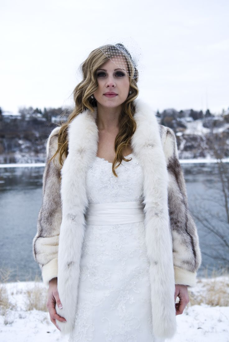 Fur coat for a winter wedding