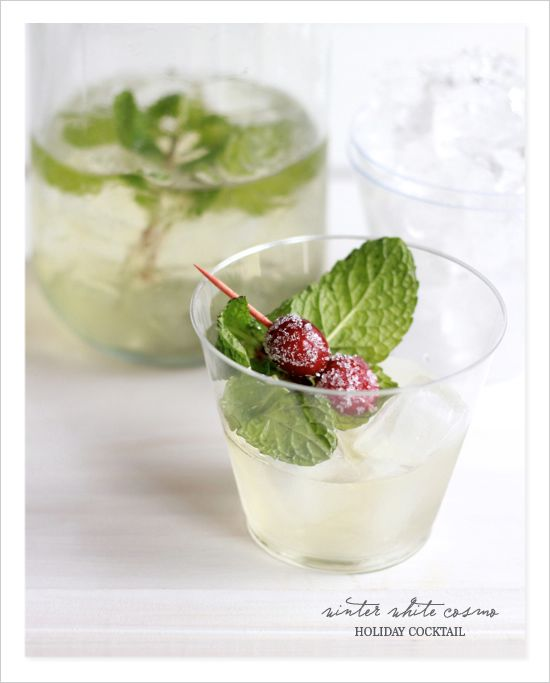 White winter cosmo with cranberry and mint garnish