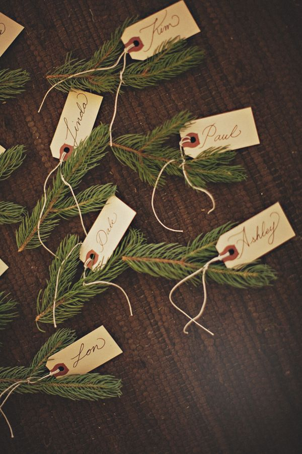 Pine branch escort cards