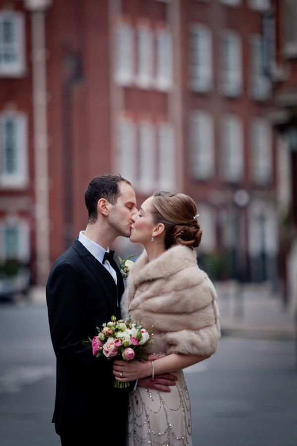 A fur stole - the ultimate compliment to a Jenny Packham gown