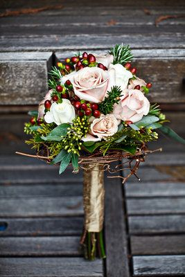 Winter bouquet wrapped in gold