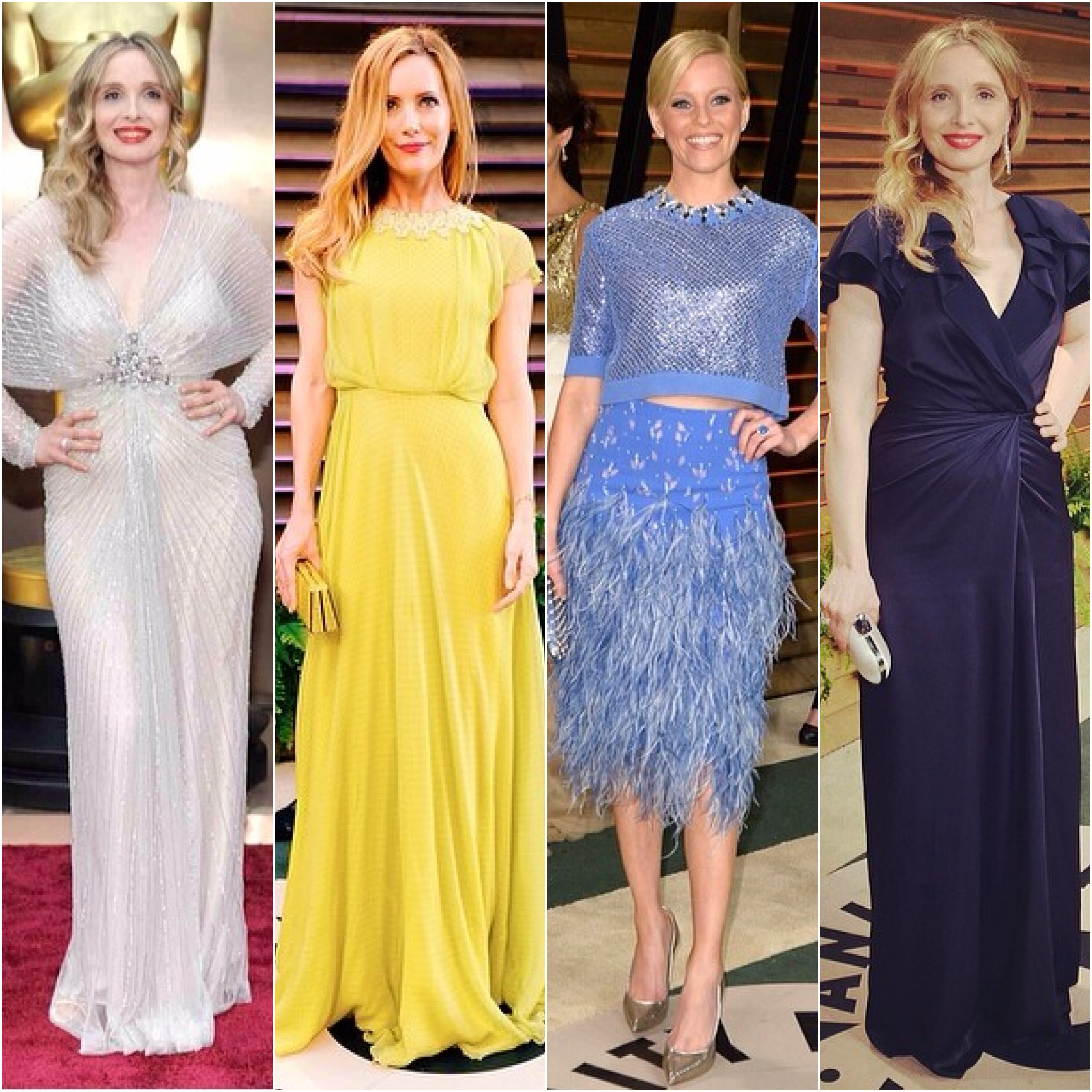 In Jenny Packham: Julie Delpy, Leslie Mann, Elizabeth Banks, and again Julie Delpy