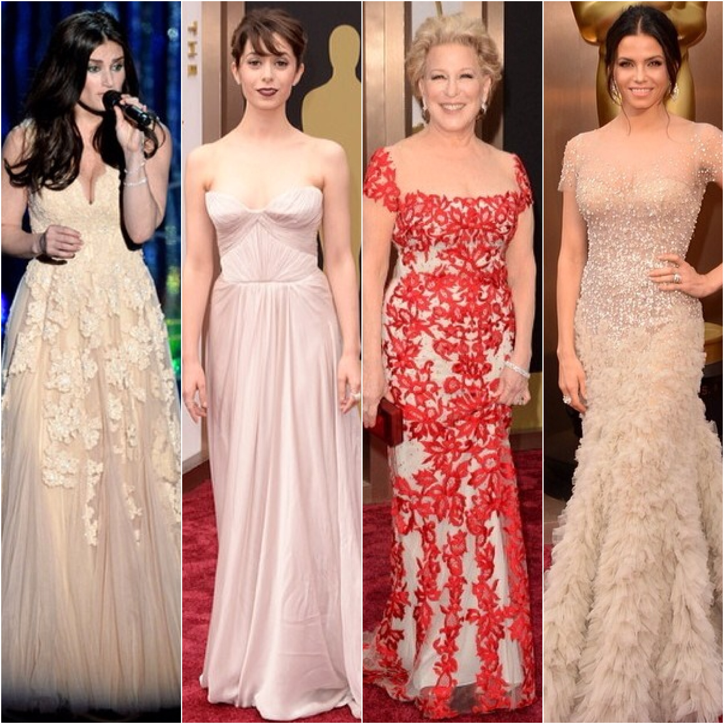 All in Reem Acra: Idina Menzel (performing at the Oscars), Christin Milioti, Bette Midler, and Jenna Dewan Tatum