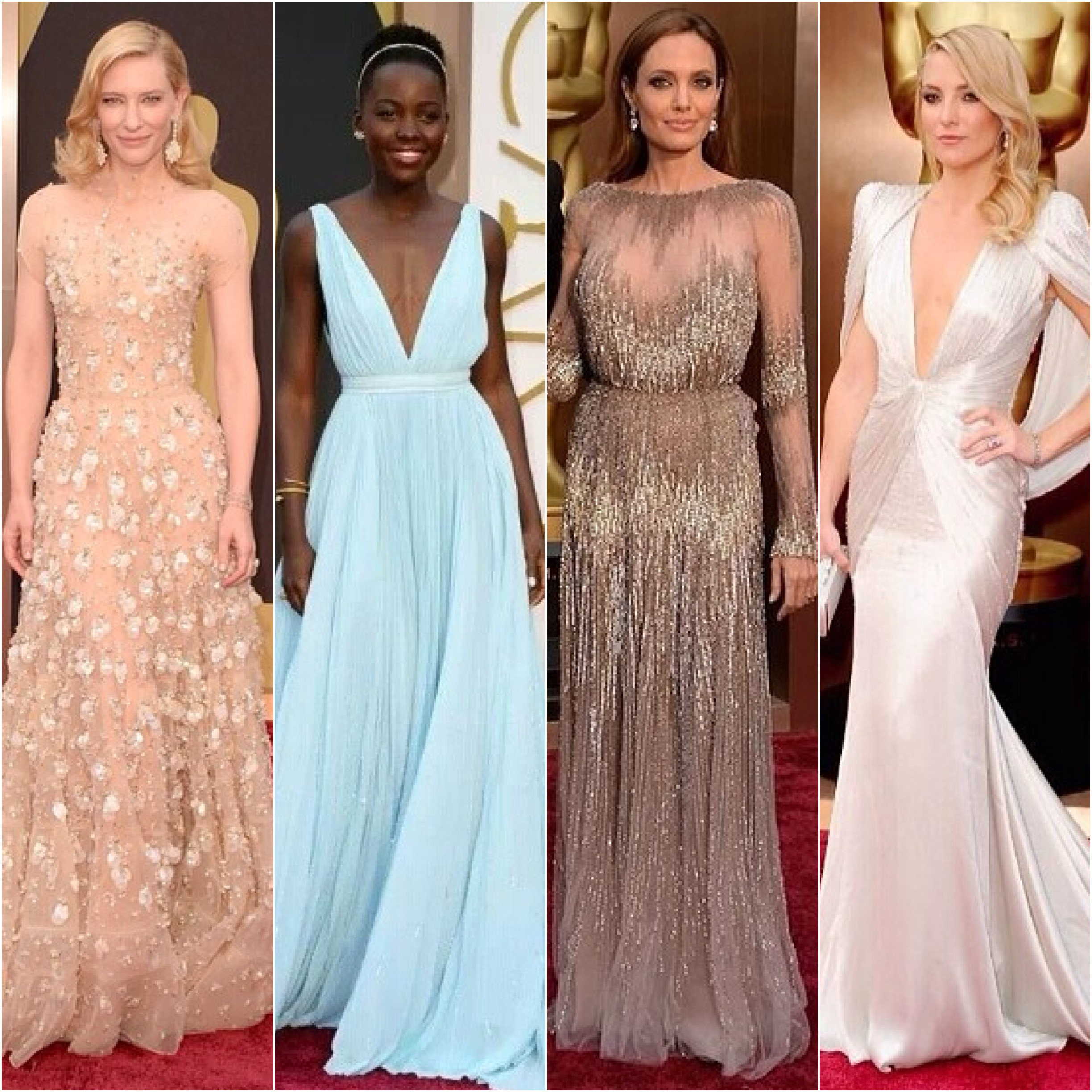 Cate Blanchett in Armani Prive, Lupita Nyong'o in Prada, Angelina Jolie in Elie Saab, and Kate Hudson in Versace