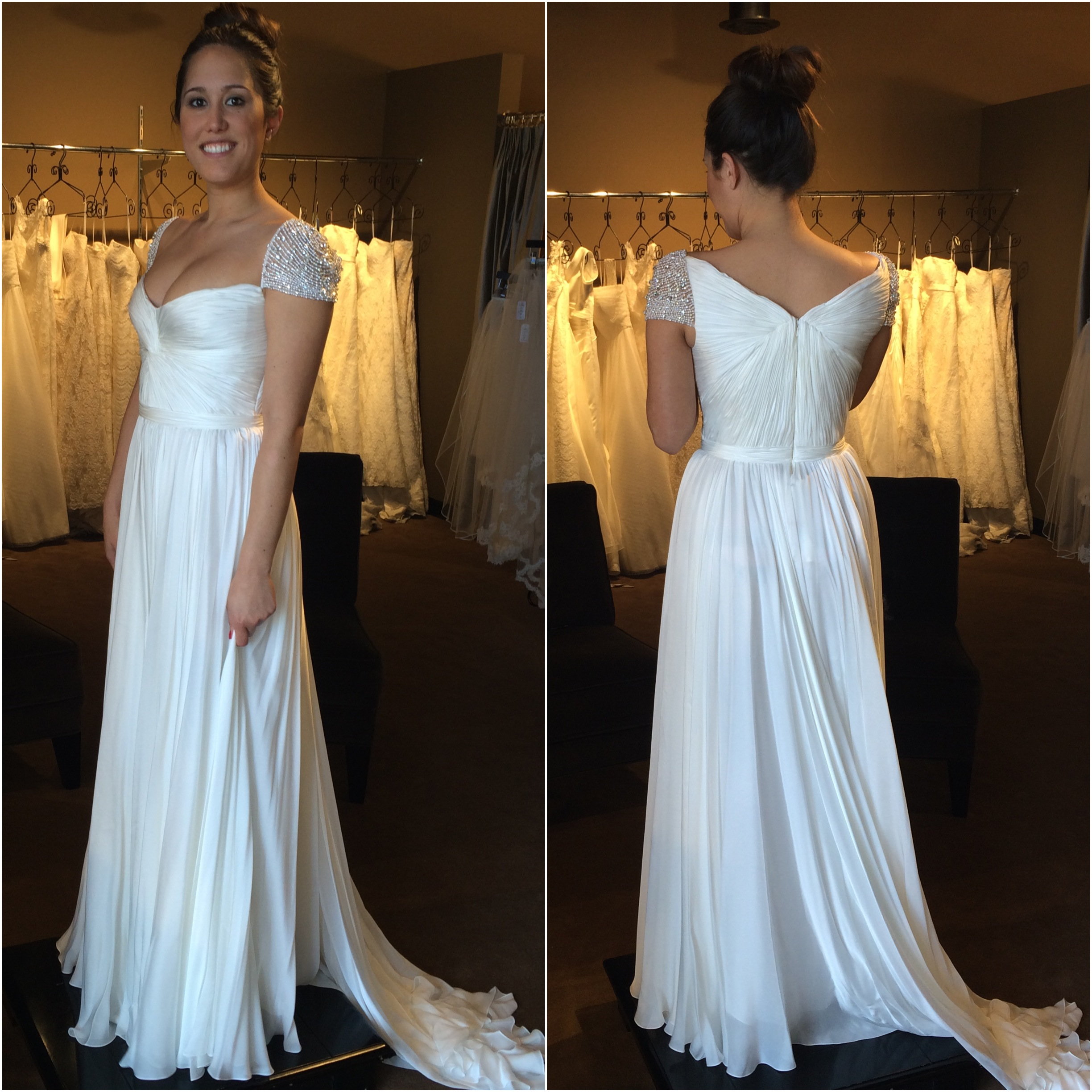 Reem Acra Olivia Wilde wedding dress bridal gown Denver Colorado Little White Dress Bridal Shop
